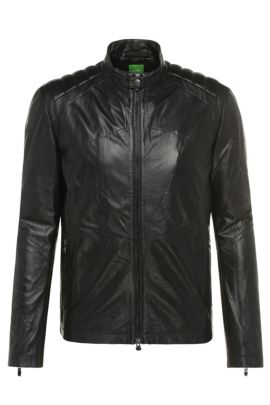 Regular-fit leather jacket with grain: 'CJaikido', Black
