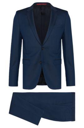 Costume Slim Fit en laine vierge finement structurée: «Astian/Hets», Bleu