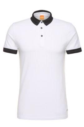 Polo Regular Fit en coton, orné de détails contrastants: «Pilipe», Blanc