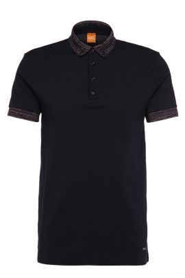 Regular-fit polo shirt in cotton with contrasting details: 'Pilipe', Dark Blue