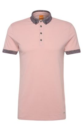 Regular-Fit Poloshirt aus Baumwolle mit Kontrast-Details: ´Pilipe`, Hellrosa