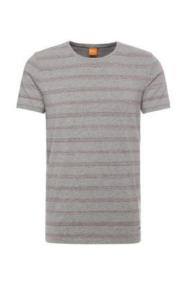 T-shirt relaxed fit in cotone elasticizzato a righe: 'Tex', Grigio chiaro