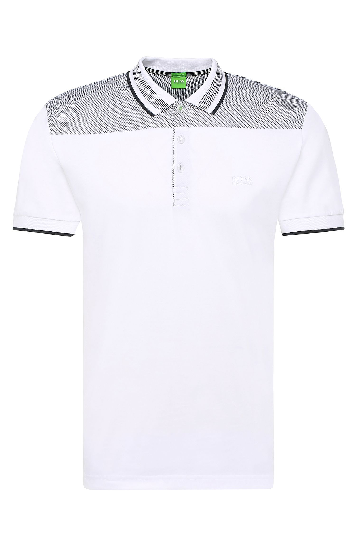 Regular-fit polo shirt in cotton with contrasting trim: 'Pavel'