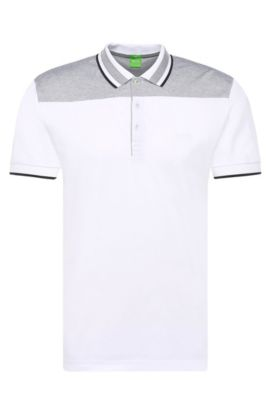 Regular-fit polo shirt in cotton with contrasting trim: 'Pavel', White