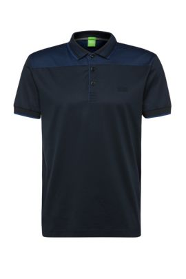Polo regular fit in cotone con inserto a contrasto: 'Pavel', Blu scuro