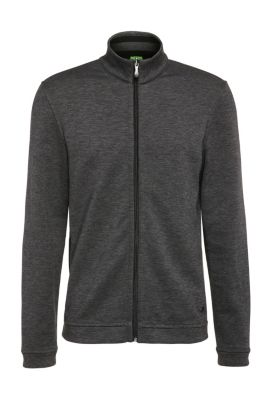 Blouson sweat Regular Fit en coton mélangé chiné : « C-Fossa », Noir