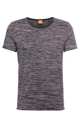Relaxed-fit katoenen shirt met strepenstructuur: 'Thoran', Bedrukt