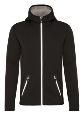 Blouson sweat Regular Fit en coton mélangé à capuche : « Skeach », Noir