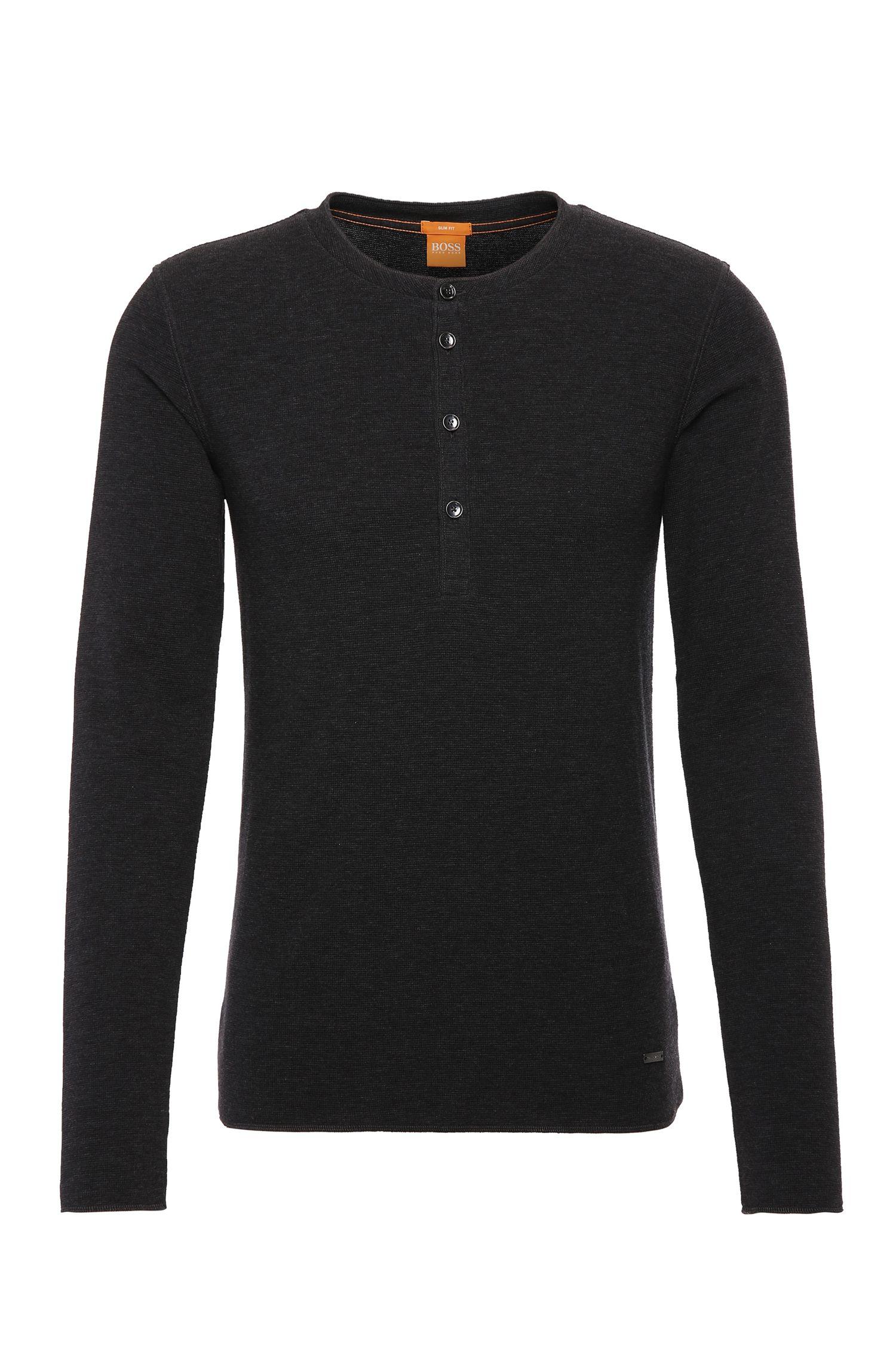 Camiseta Henley slim fit en punto de algodón sencillo