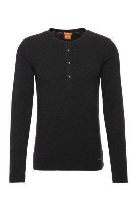 Camiseta Henley slim fit en punto de algodón sencillo, Negro