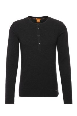 T-shirt Henley Slim Fit en doux jersey simple, Noir