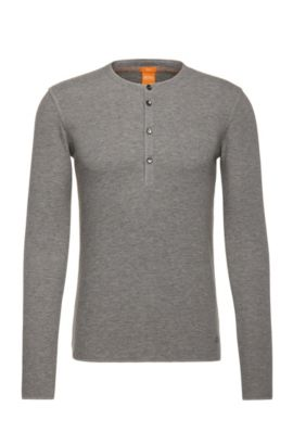 Slim-fit Henley T-shirt in single cotton jersey, Light Grey