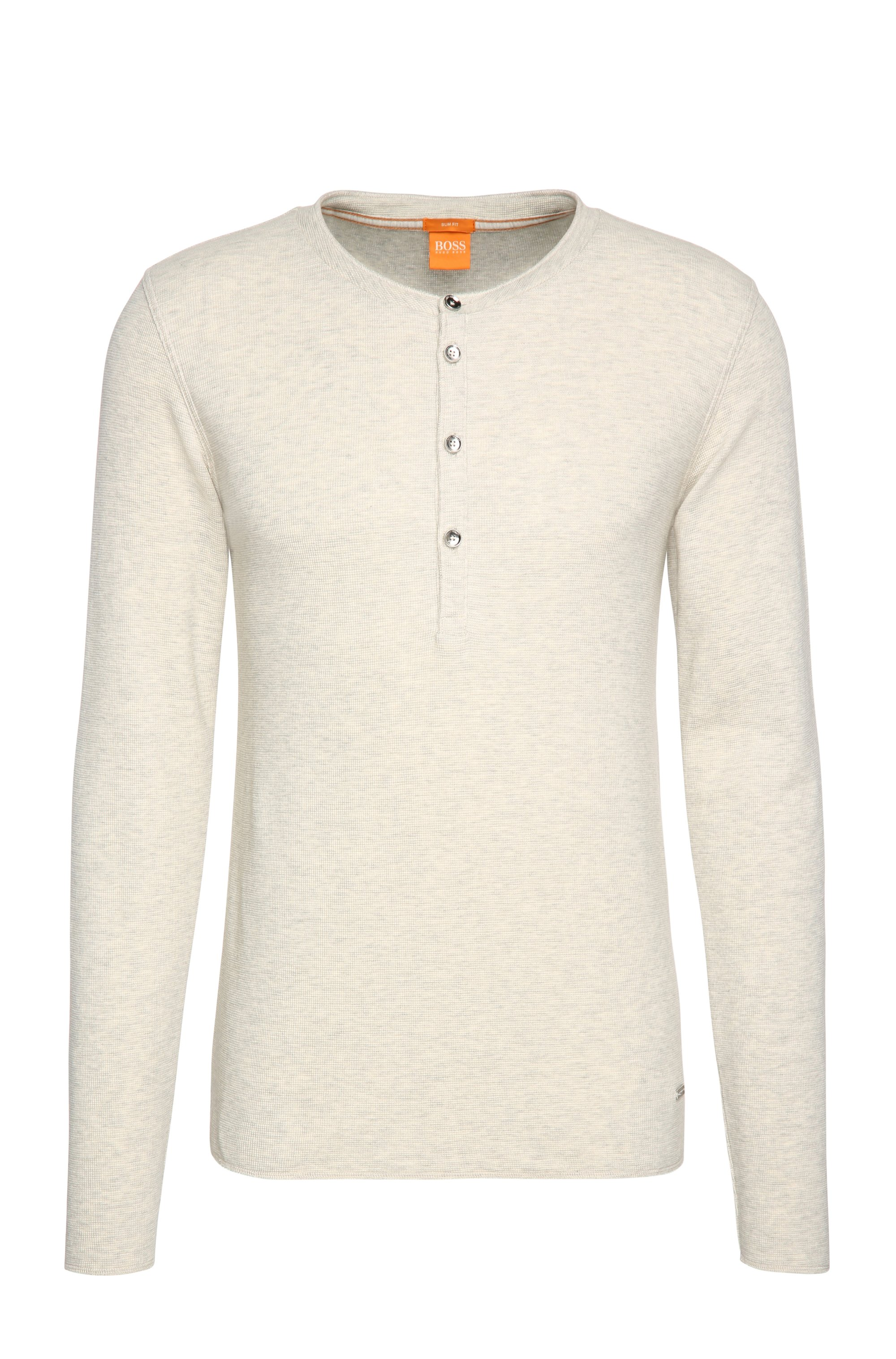 Slim-fit Henley T-shirt in single cotton jersey, Natural