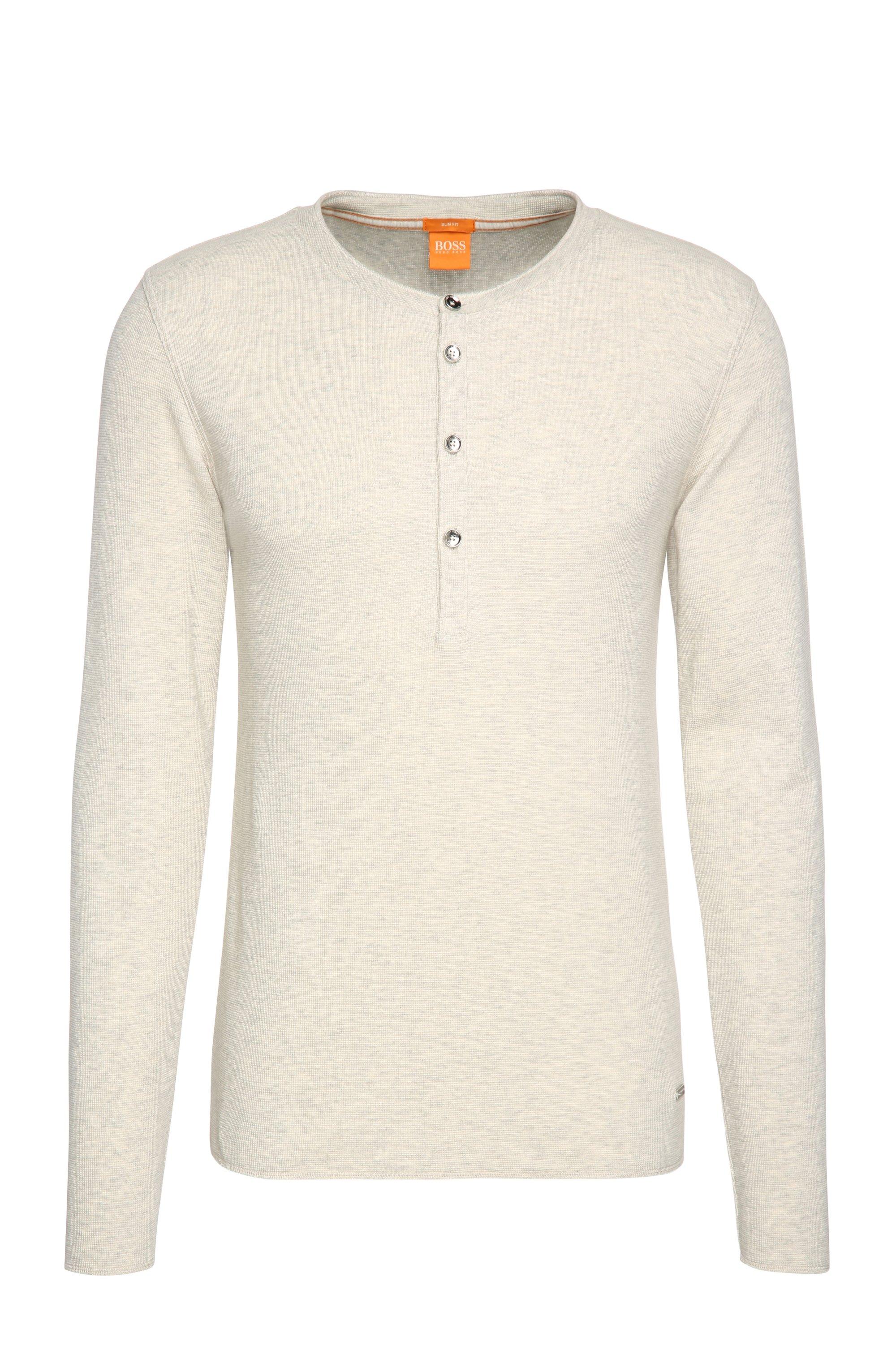 Slim-fit henleyshirt van zachte single jersey van katoen, Naturel