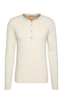 T-shirt Henley Slim Fit en doux jersey simple, Chair