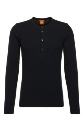 Slim-fit Henley T-shirt in single cotton jersey, Dark Blue