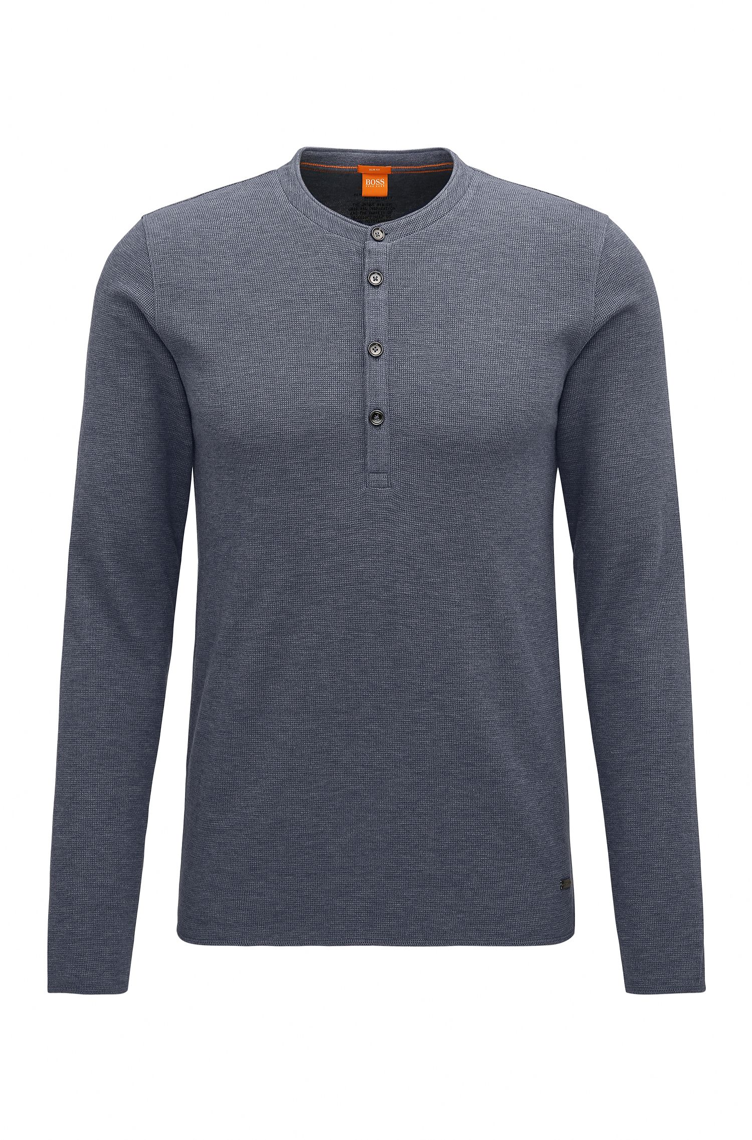 T-shirt in stile Henley slim fit in jersey di cotone singolo