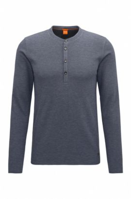 T-shirt in stile Henley slim fit in jersey di cotone singolo, Blu scuro