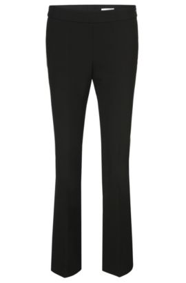 Slim-fit trousers with a flared leg: 'Tutina1', Black