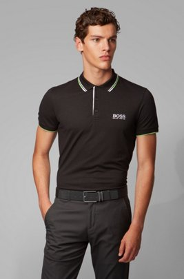 Regular fit piqué polo shirt with quick-dry technology, Black
