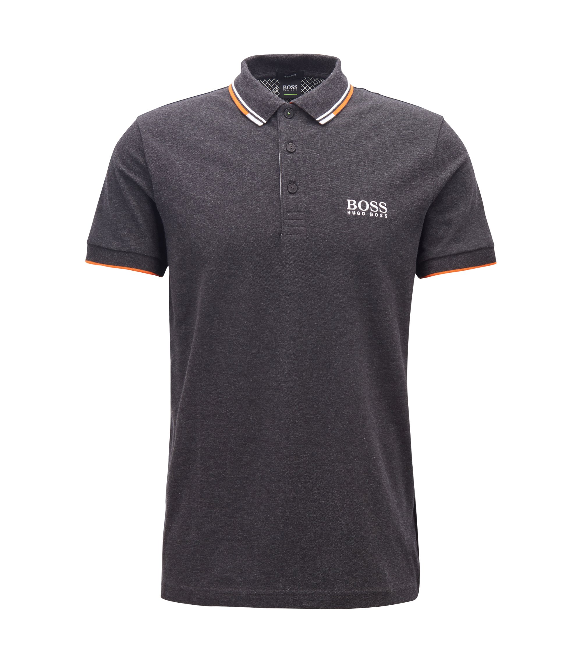 Regular fit piqué polo shirt with quick-dry technology, Anthracite