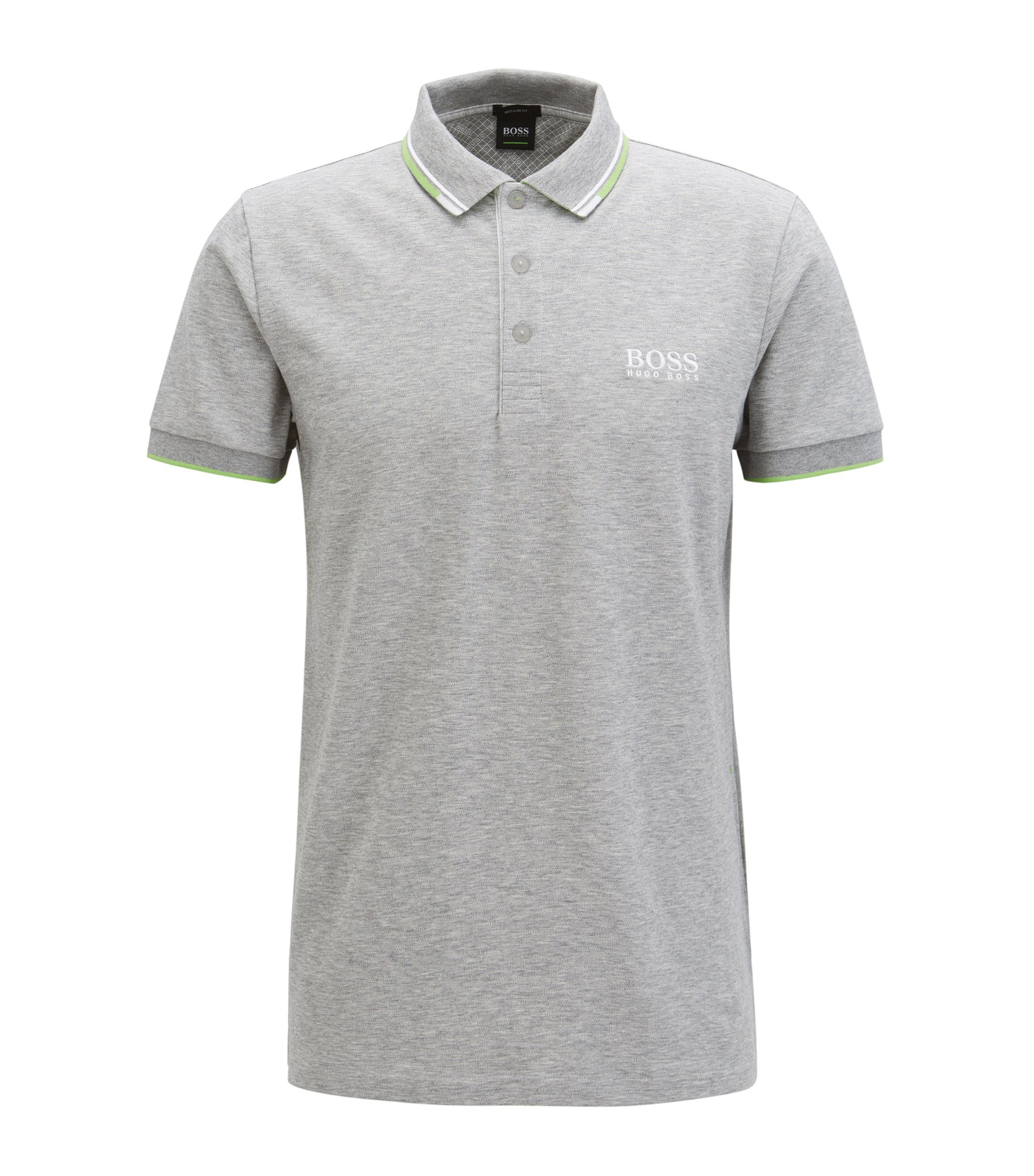 Polo Regular Fit en piqué doté de la technologie quick-dry, Gris chiné