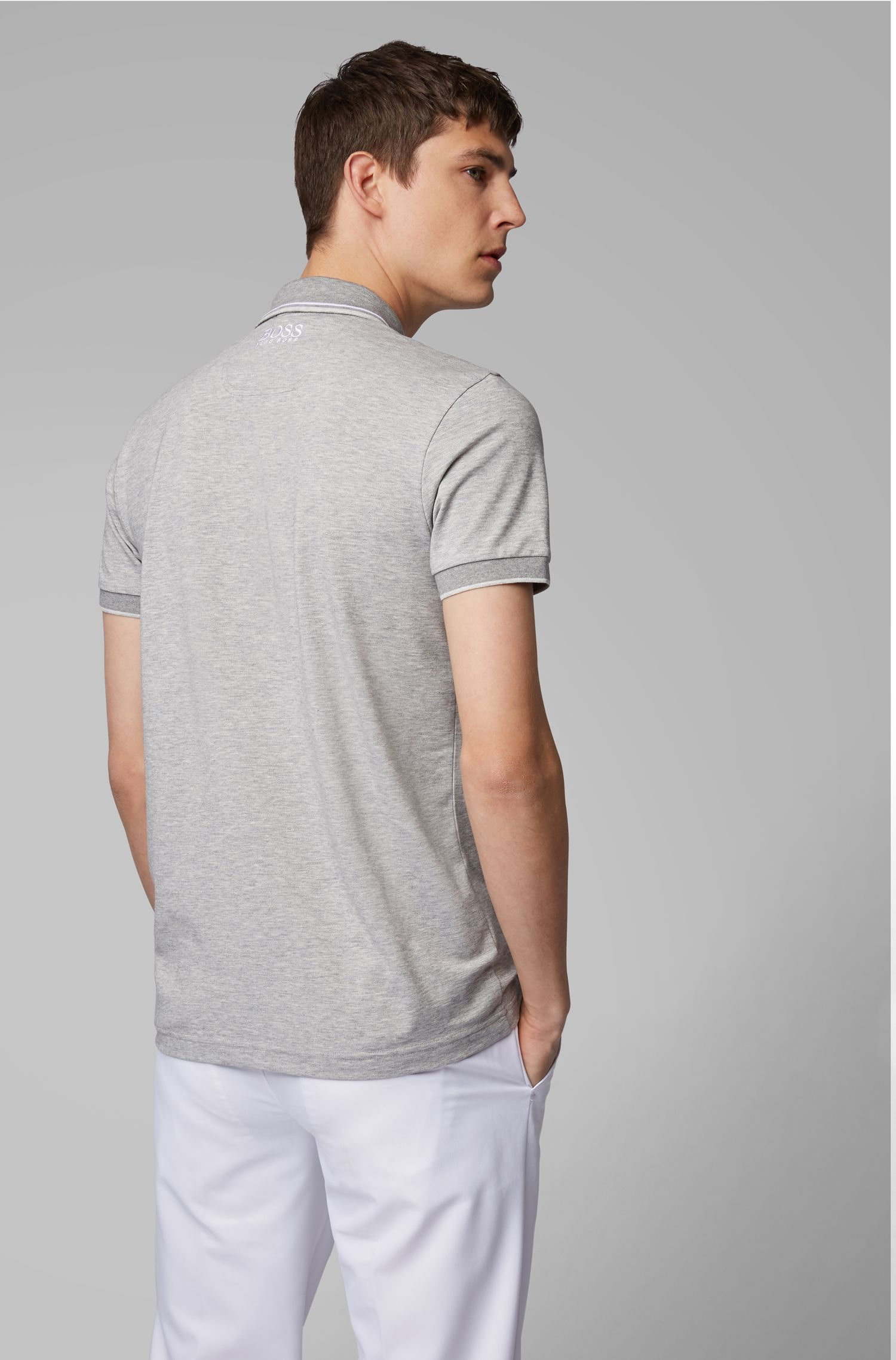 Regular fit piqué polo shirt with quick-dry technology, Light Grey