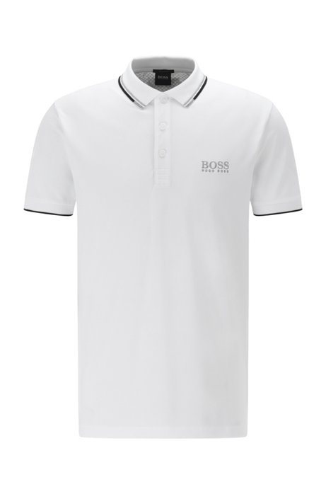 Regular-fit polo van piqué met sneldrogende technologie, Wit