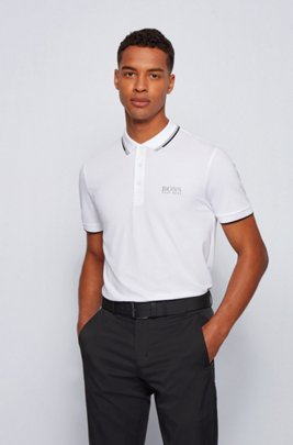 Regular fit piqué polo shirt with quick-dry technology, White