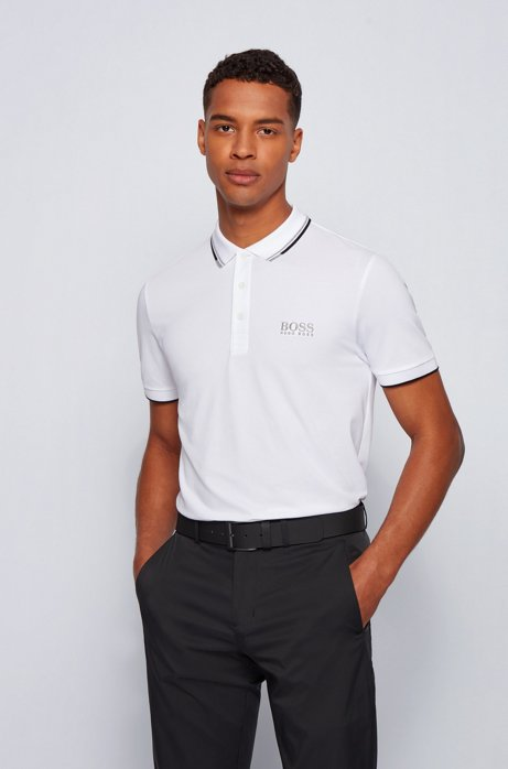 Polo Regular Fit en piqué doté de la technologie quick-dry, Blanc