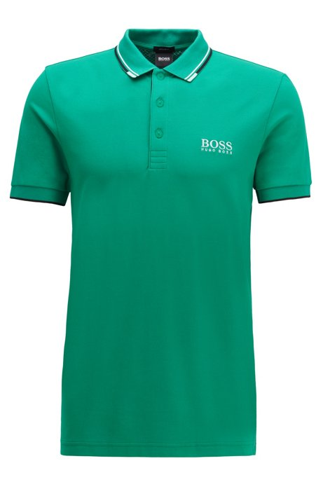 Regular fit piqué polo shirt with quick-dry technology, Green