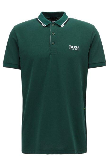 Polo Regular Fit en piqué doté de la technologie quick-dry, Vert sombre