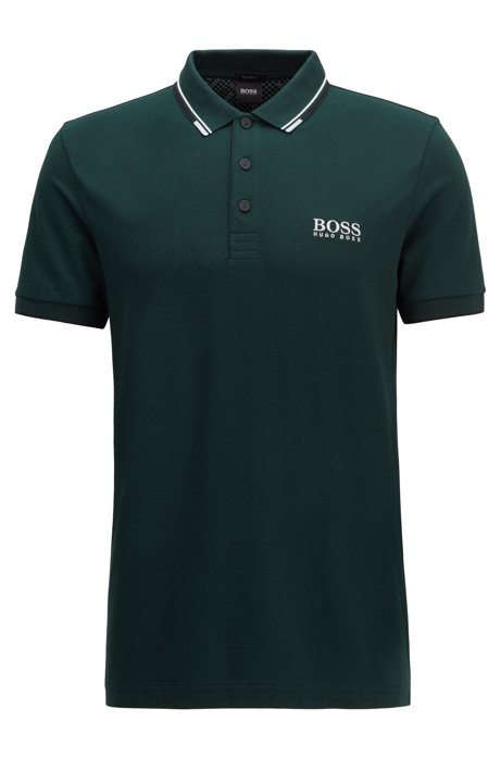 Regular fit piqué polo shirt with quick-dry technology, Dark Green