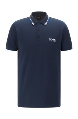 Regular fit piqué polo shirt with quick-dry technology, Dark Blue