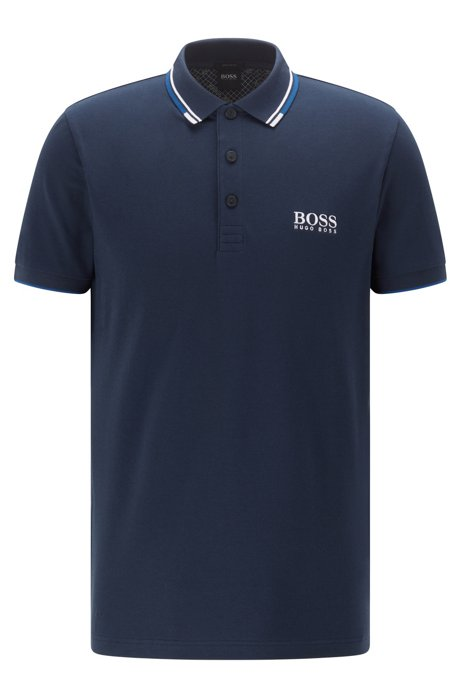 Polo in piqué regular fit con tecnologia ad asciugatura rapida, Blu scuro