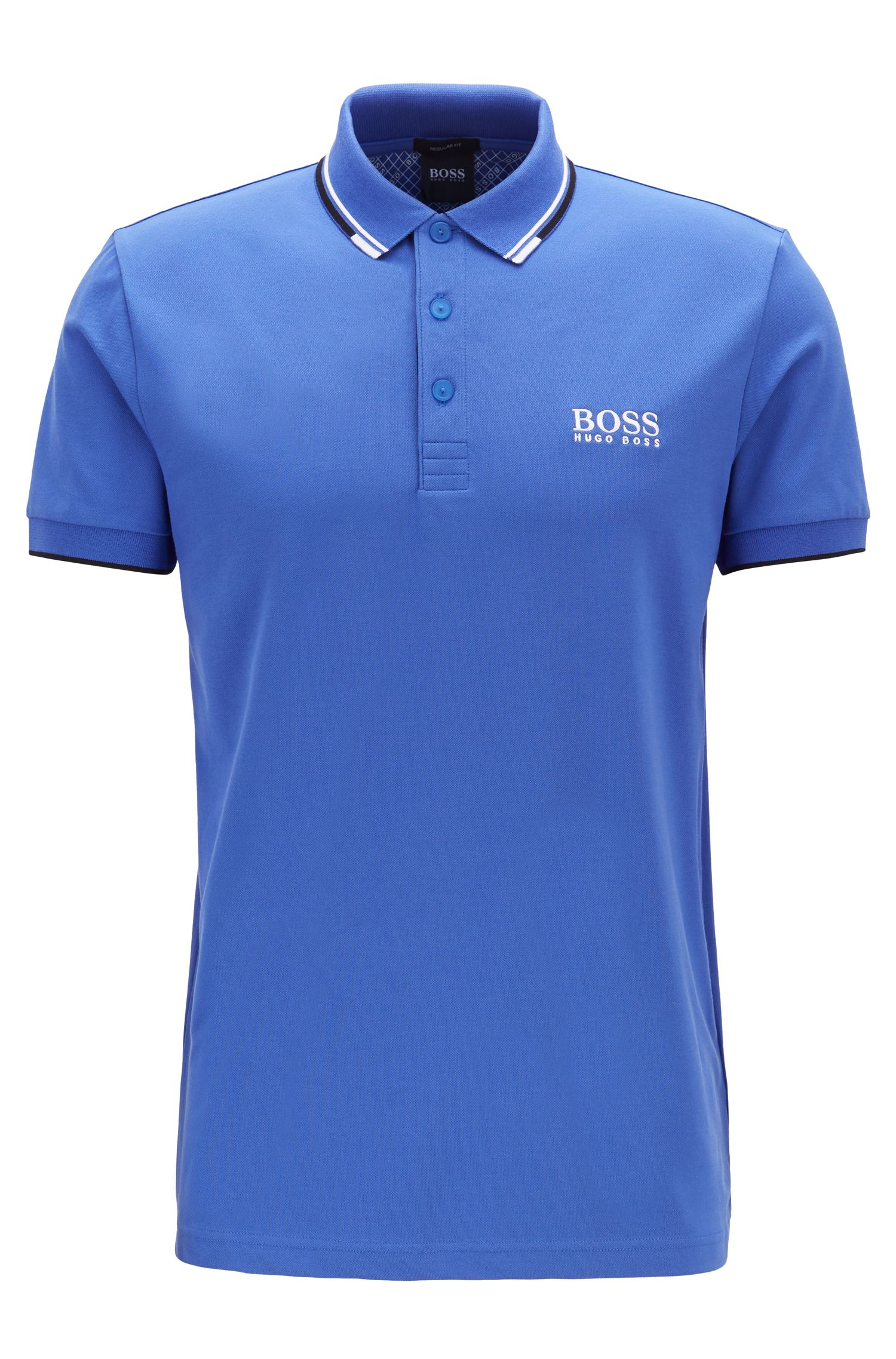 Polo Regular Fit en piqué doté de la technologie quick-dry, Bleu