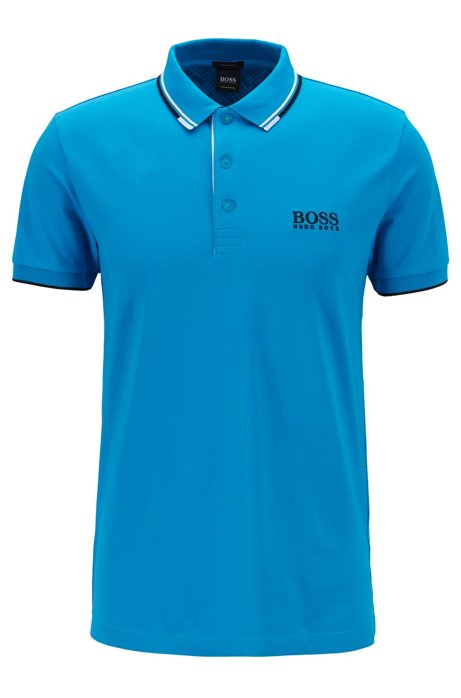 Polo Regular Fit en piqué doté de la technologie quick-dry, Bleu