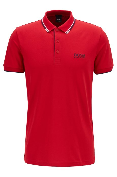 Regular fit piqué polo shirt with quick-dry technology, Red
