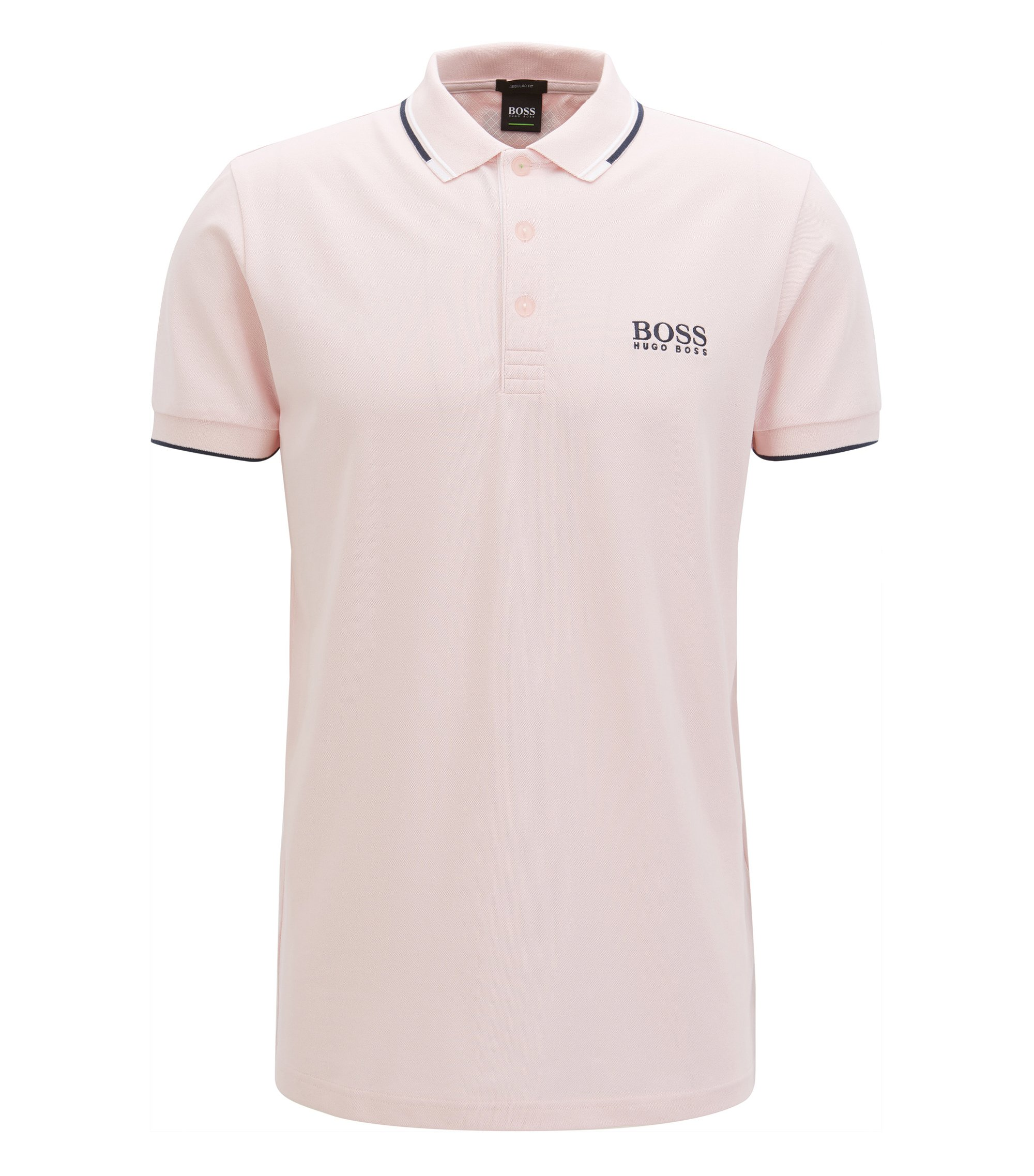 Regular fit piqué polo shirt with quick-dry technology, light pink