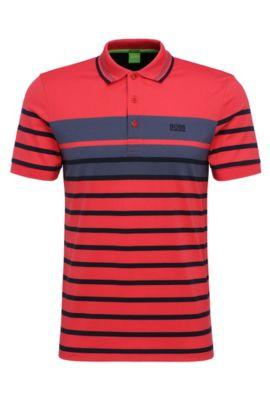 Polo slim fit de algodón con estampado de rayas: 'Paule 3', Rojo claro