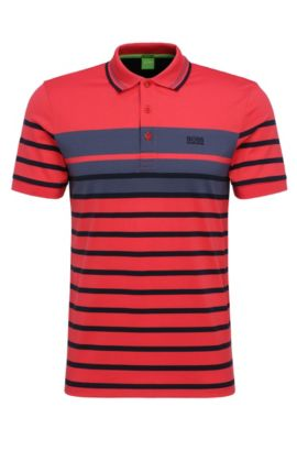 Slim-fit cotton polo shirt with stripe pattern: 'Paule 3', Open Red