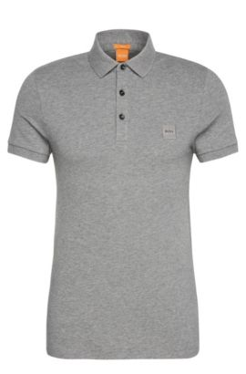 Polo Slim Fit en maille piquée stretch, Gris chiné