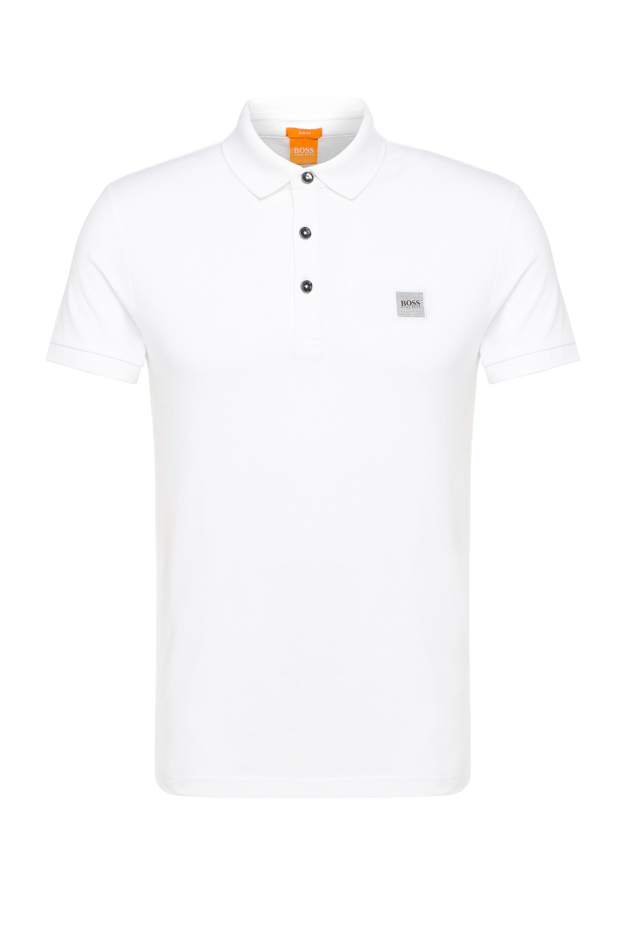 Polo Slim Fit en maille piquée stretch, Blanc