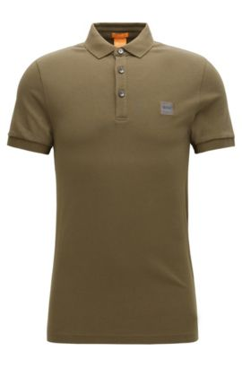 Slim-fit poloshirt in stretchpiqué, Donkergroen