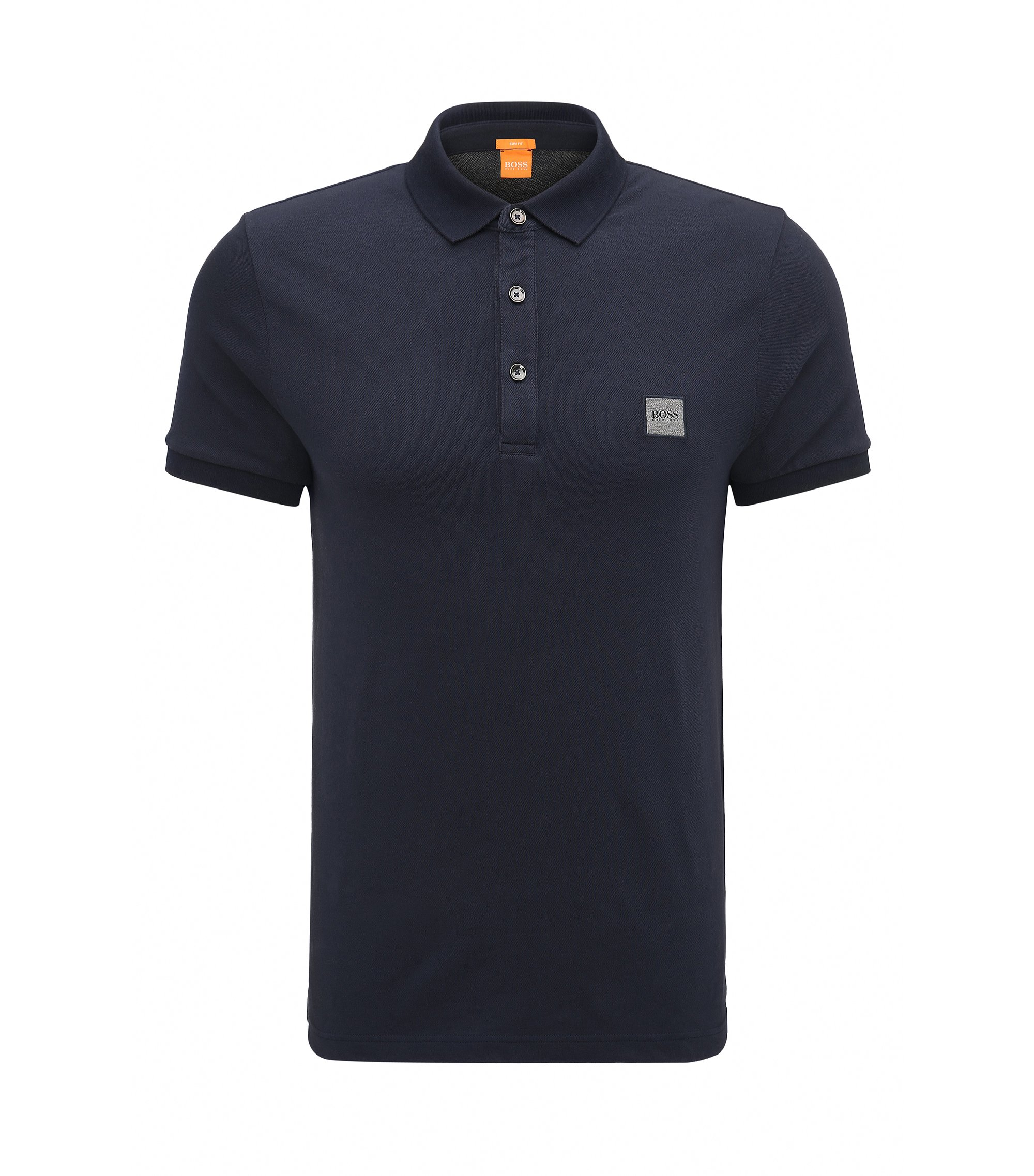 Polo slim fit in piqué elasticizzato, Blu scuro