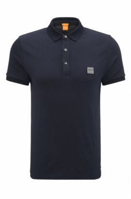 Slim-fit poloshirt in stretchpiqué, Donkerblauw