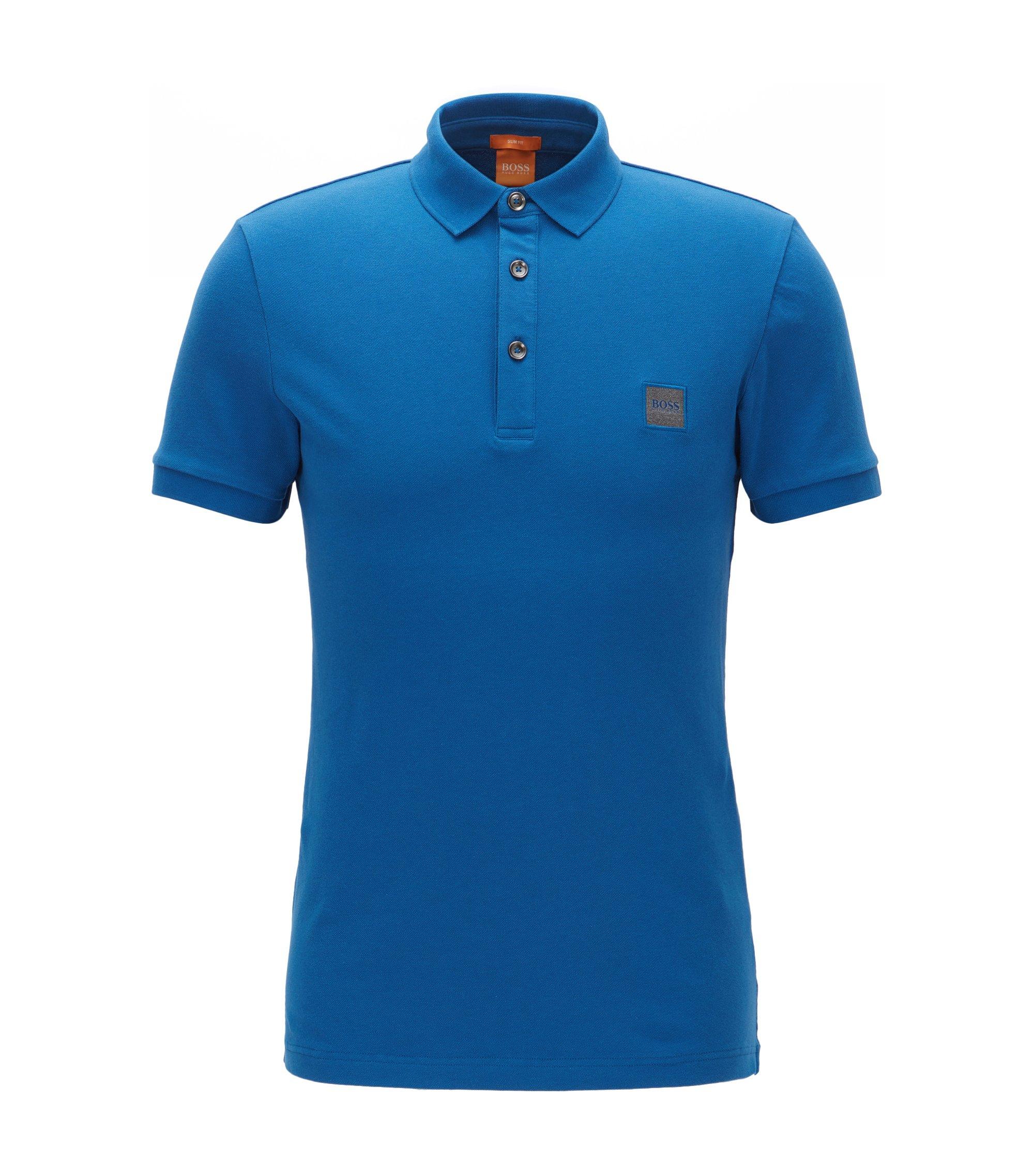 Polo Slim Fit en maille piquée stretch, Bleu