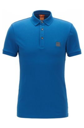 Polo Slim Fit en maille piquée stretch, Bleu