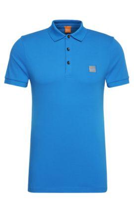 Slim-Fit Poloshirt aus elastischem Piqué, Blau