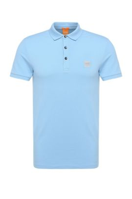 Slim-fit polo shirt in stretch piqué, Light Blue